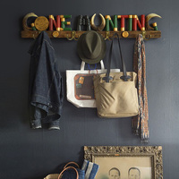 Resin letter Coat Hat Towel Coat Bag Clothes Organizer Metal Hooks Key Living room Bedroom Kitchen Home Decor Wall Door Hanger