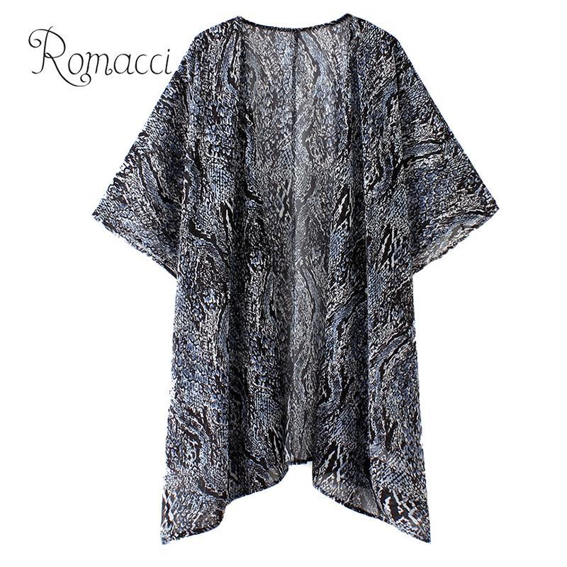 Loyal Romacci Women Shirt Ladies Tops Fashion Sexy 3/4 Sleeve Leisure Snake Print V-neck Long Cardigan Office Blouse Kimono Mujer 2019 Blouses & Shirts