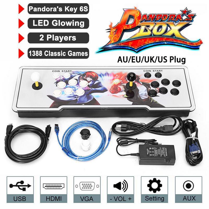 1388 Retro Pandora Box 6S Arcade Game Console Double Stick Cabinet TV Fighter pandora box 6s 1388 in 1 retro video games double stick arcade console light classic boxing game