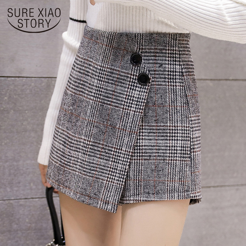 Elegant Leather Shorts Fashion High Waist Shorts Girls A-line  Bottoms Wide-legged Shorts Autumn Winter Women 6312 50 73