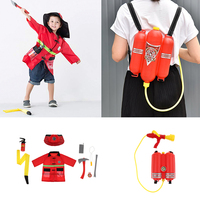 10pcs Fireman Dress Up Uniform Clothes Outfit Hat Walkie talkie Kits w/ Fire Squirt Water For Children Fire Fighter Role Playing