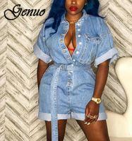 Women Summer Clothing Overalls High Waist Slim Jeans BF Loose Leg Jumpers Lapel Pocket Shorts Jumpsuit Denim Casual Streetwear