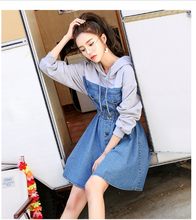 2019 spring womens fashion bodycon hooded splice denim dresses female vintage long sleeve elegant dress