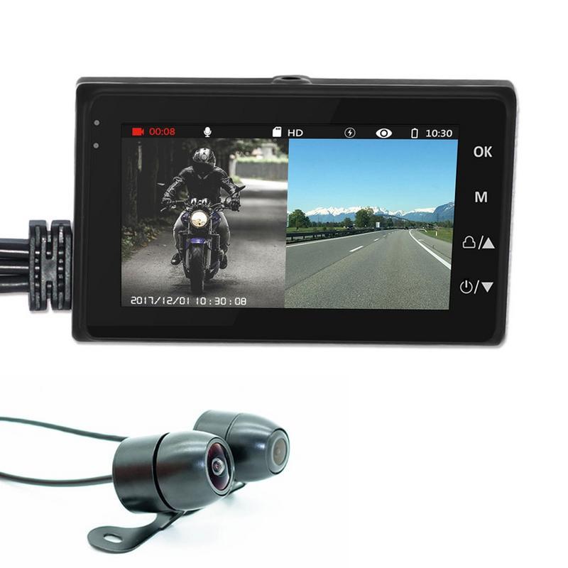 KY MT18 Motorcycle Camera DC12 24V Waterproof DVR 3.0 1080P HD Dual track Lens Front Rear Driving Recorder Motor Monitor