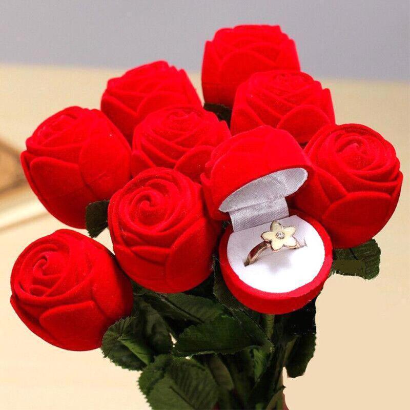 1pc Romantic Rose Ring Box Flower Flocking Holder Velvet Wedding Propose Engagement Valentine Day Gift Box Packing Jewelry Case