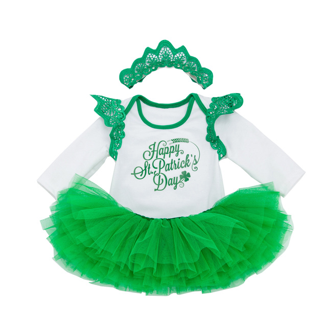Baby Girls Happy St Patrick'S Day Outfit Green Party Decor Costume Dress Set