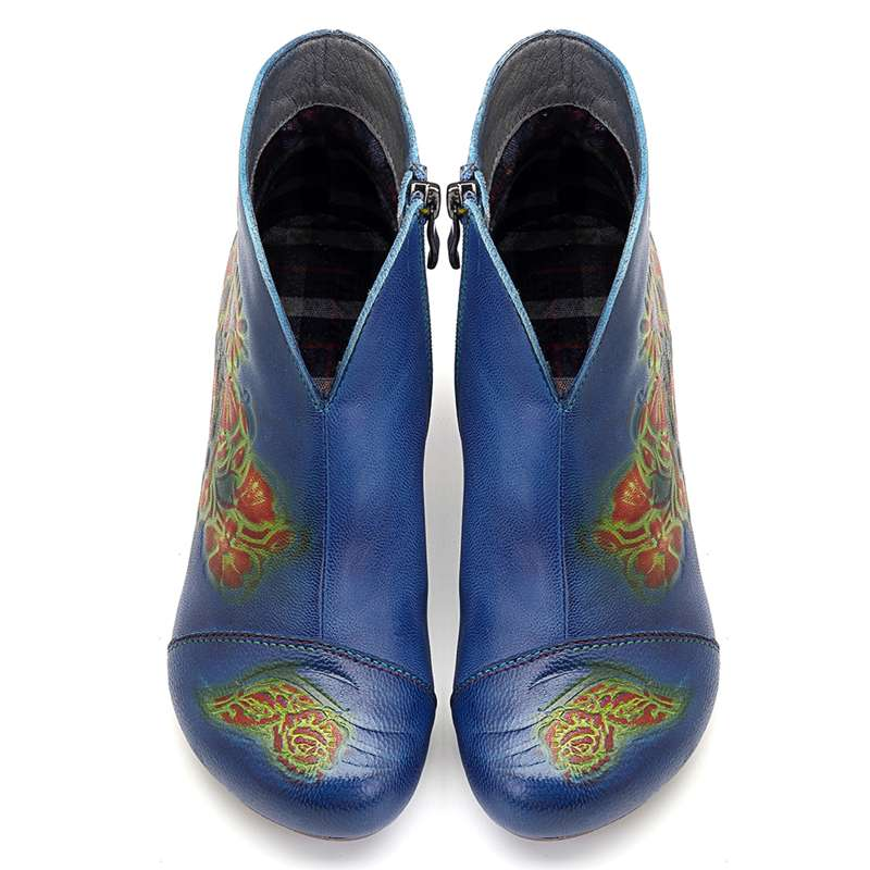 Socofy Vintage Genuine Leather Winter Boots Women Shoes Woman Ankle Boots Flower Printed Chunky Heel Booties Autumn Ladies Shoes