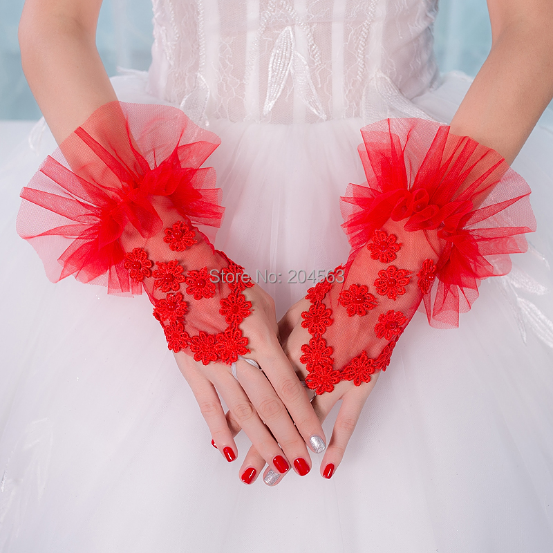 Stunning Wedding Party Fingerless Gloves Tulle Wrist Red Bridal Gloves with Pearls