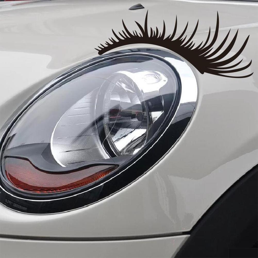 Hot 2Pcs Eyelashes Light Eyebrow Car Stickers Body Sticker Decals Door Blocked Scratches Vinyl Graphic Motorcycle