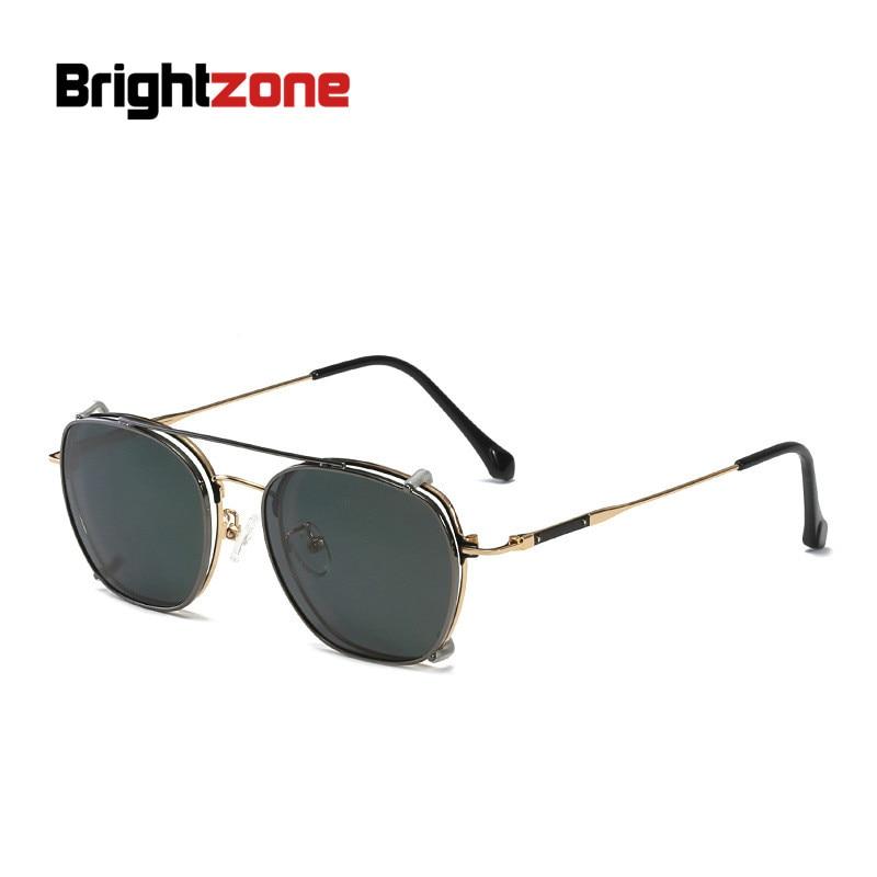 f6ab945539b Vintage Full Rim + Polarized Clip-on Prescription Myopia Polarized  Sunglasses Set Women Men Eyeglasses