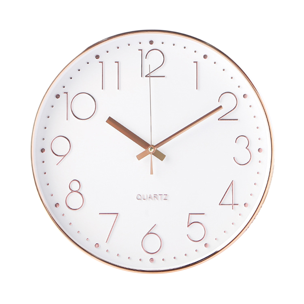 12 Inch Silent Wall Clock Decorative Round Digital Wall Clock For Living Room Bedroom (Rose Gold)