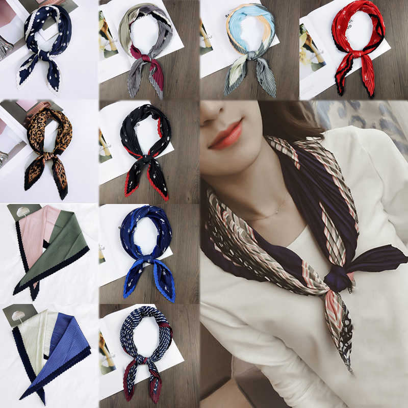 Soft Print Dot Comfortable Square Airline Hostess Crumple Foulard 1PC Handkerchief Silk Small Neck Scarf Bandana Crinkle