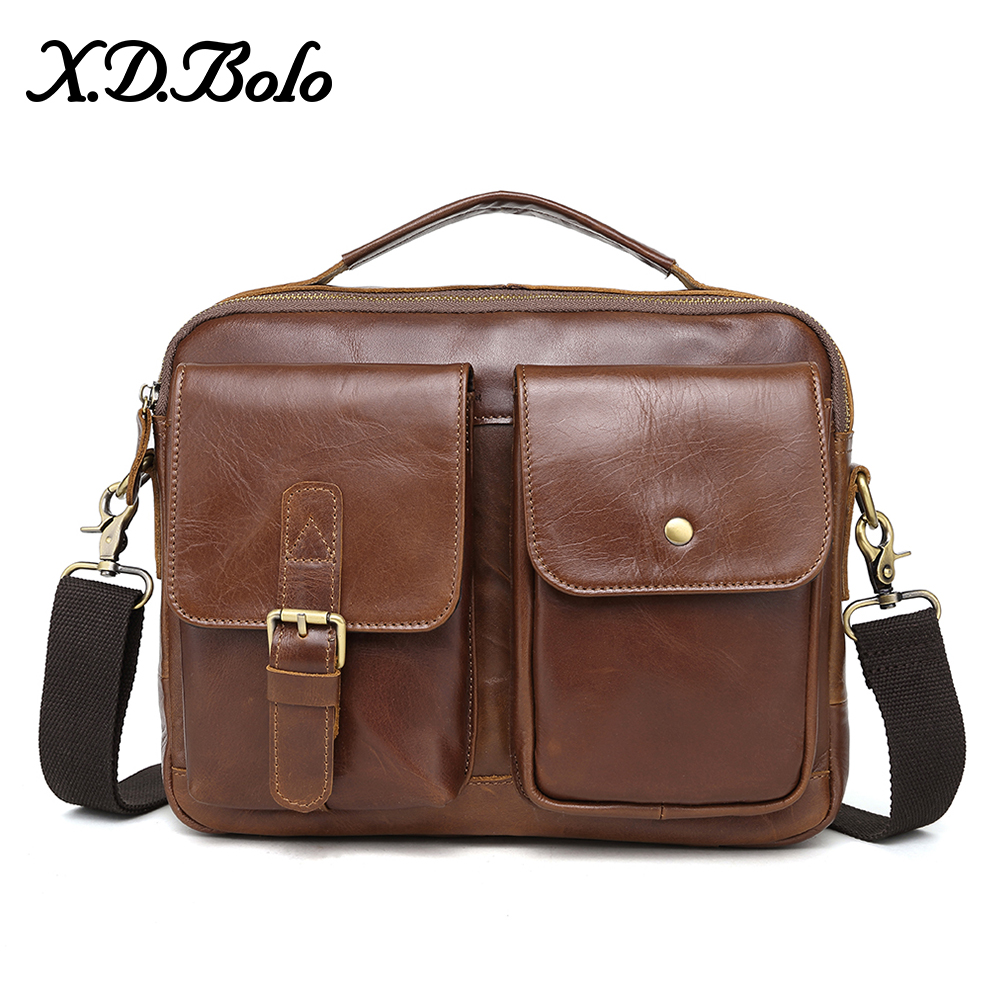 X.D.BOLO Men Messenger Bags Genuine Leather Shoulder Bags Top handle Male Handbags Small Flap Casual Crossbody Mens Leather Bag-in Crossbody Bags from Luggage & Bags    1
