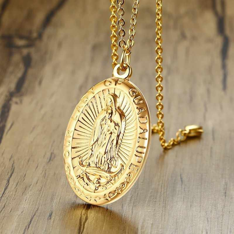 Miraculous Madonna Mens Pendant Necklace Stainless Steel In Gold Colors Male Christ Gifts