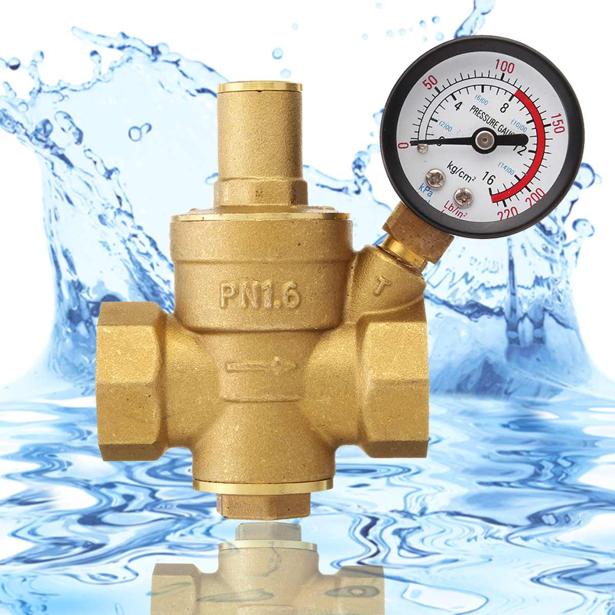 DN20 3/4 Adjustable Relief Valve Brass Water Pressure Reducing Maintaining Valves Pressure Gauge Regulator Reducer Gauge MeterDN20 3/4 Adjustable Relief Valve Brass Water Pressure Reducing Maintaining Valves Pressure Gauge Regulator Reducer Gauge Meter