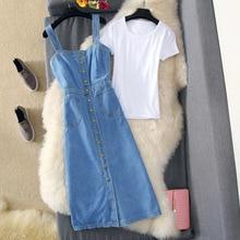 Spring Summer Women Denim Sundress Blue Slim Sunspender Jeans Dress Casual Buttons Dresses Vestidos