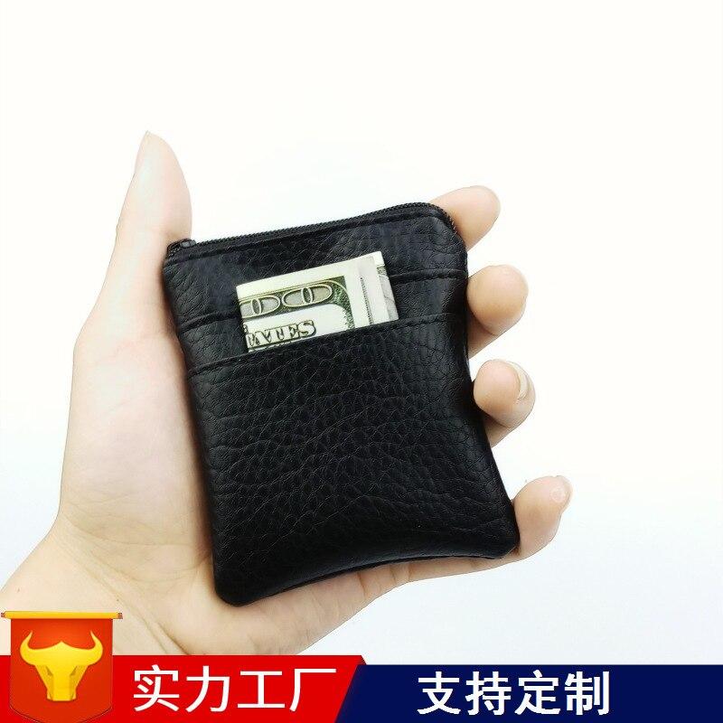 Small PU Leather Zipper Coin Wallet Purse Men Male Mini Key Case Pouch Short Credit Bank Card Case Holder Change Money Bag