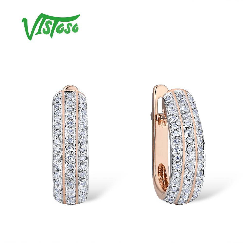 VISTOSO boucles d'oreilles en or pour femmes 14 K 585 or Rose étincelant diamant de luxe bande de mariage fiançailles bijoux fins à la mode