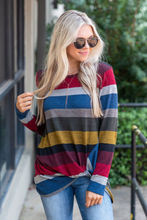 цена на Women Color Block Striped Long Sleeve Ladies O Neck Tunic Plus Size Tops T Shirt