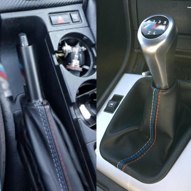 2 Pcs/Set <font><b>Car</b></font> Modification DIY Accessories Handbrake Gaiter Shift Boot Leather Cover Boot For <font><b>BMW</b></font> <font><b>3</b></font> Series E36 E46 M3 image