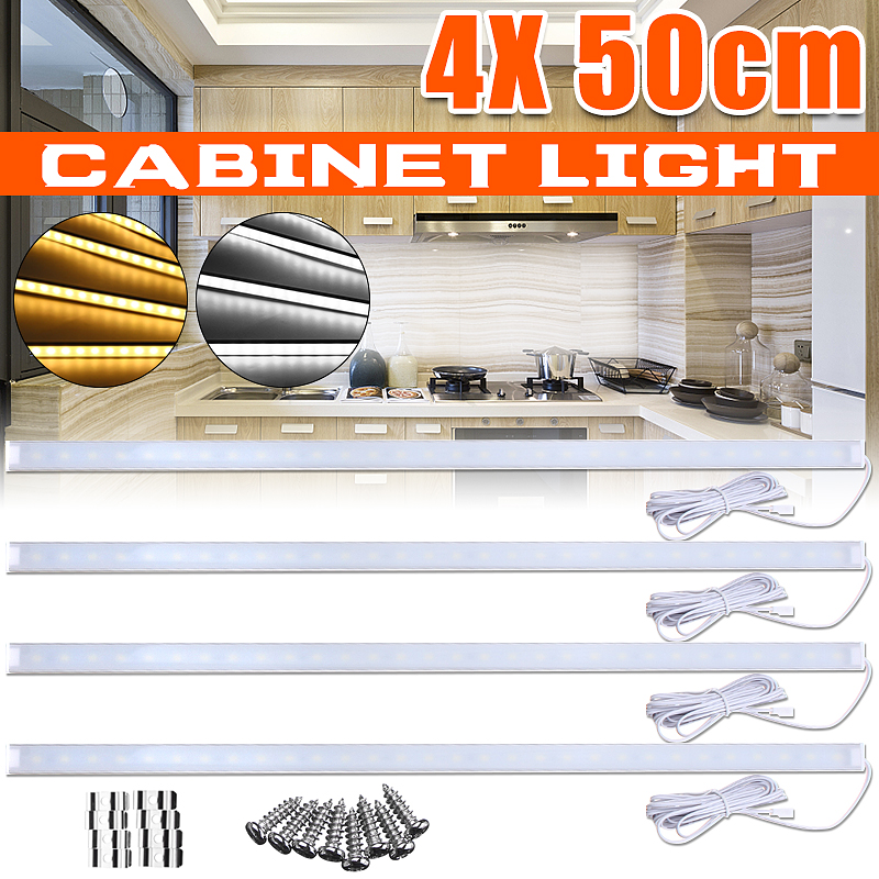 50CM Under Cabinet Light 4Pcs DC 12V Home Kitchen Light 1000LM LED Rigid Strip Light Bedroom Closet Counter Stairs Lighting