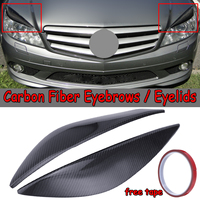 1 Pair Real Carbon Fiber Car Front Headlight Eyebrows Eyelids For Mercedes For Benz W204 C180 C200 C300 C350 C63 2008 2011