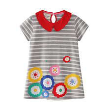 2019 summer new brand Kids dresses Peter pan collar Striped Printing baby dress Casual Short Sleeve Princess Dresses Clothes