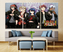 Home Decor Modular Canvas Painting Picture 3 Piece Shokugeki No Soma Anime Characters Poster Wall For Wholesale