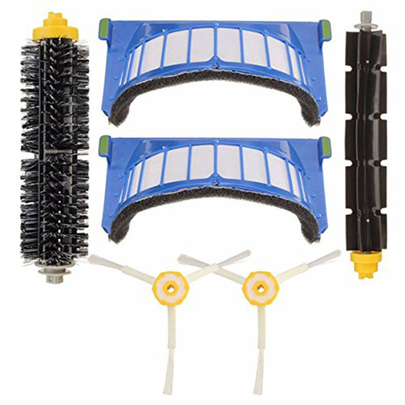 EAS-6 Pcs Replacement Vacuum Parts For Irobot Roomba 600 Series Vacuum Cleaner Beater Brushes 3-Armed Side Brushes Vac FiltersEAS-6 Pcs Replacement Vacuum Parts For Irobot Roomba 600 Series Vacuum Cleaner Beater Brushes 3-Armed Side Brushes Vac Filters