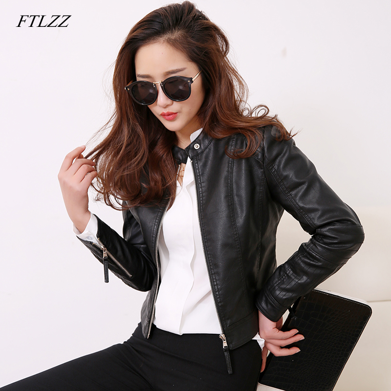 FTLZZ European Style O Neck PU Läderjacka New Fashion Motorcycle Leather Outwear Kvinnor Slim Biker Coat Basic Streetwear