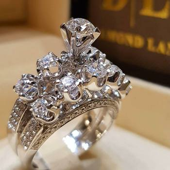 Classic 18K biały złoty pierścień umieścić razem Diamond Ring anillos de ślub marki Amethyst kryształ zestawy Biżuteria dla kobiet bizuteria tanie i dobre opinie Unisex Round Shape Doskonałe White Gold GDTC Strona Bridal Sets diamond ring 20715 Klasyczny Pave Setting Geometryczne