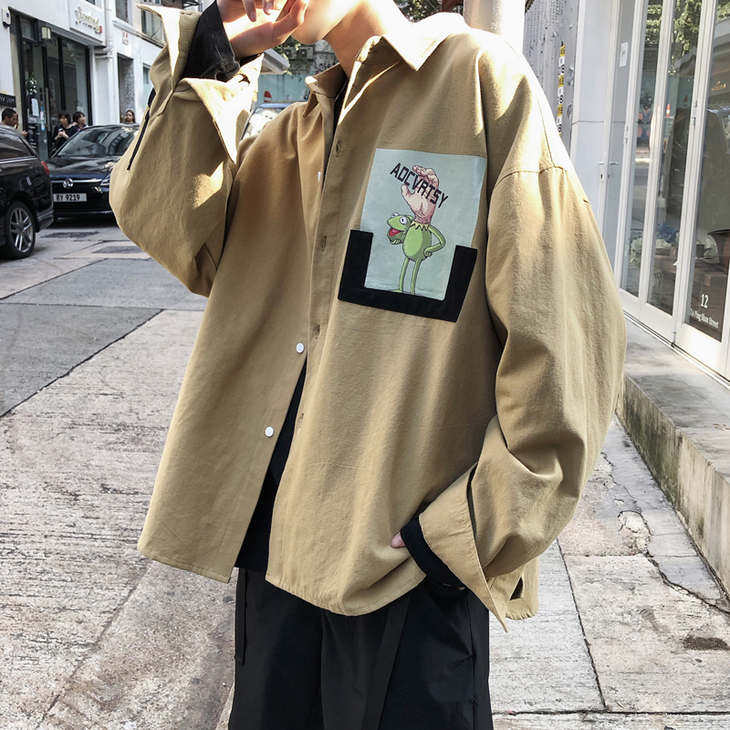 2019 Spring And Summer New Men's Youth Japanese Version Of Harajuku Style Couple Loose Casual Letter Cartoon Print Jacket M-2xl