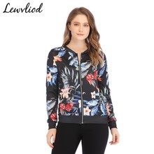 Casual Slim Flower Print Bomber Jacket Spring Summer Long Sleeve O Neck Short Coats Tops Women Coat And Jackets Outwear 5XL cakucool hot full sequined baseball jackets floral embroid black long sleeve short coats spring casual novelty coat jacket lady