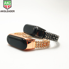 Miband 4 3 Wrist Strap Diamonds Stainless Steel Chain Wrist Bands For Xiaomi Band 3 4 Watchband For Mi Band 2 Correas De Reloj kinco black sliver rose gold stainless steel fashion fold buckle wrist bands strap for xiaomi miband 2 mi band2 wristband straps