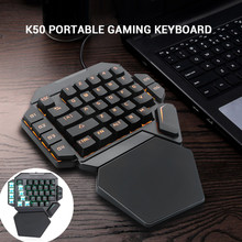 K50 RGB Wired Gaming Keypad One-handed Blue Switch Macro Definition LED Backlight 35 Keys Mechanical Keyboard With Wrist Pad