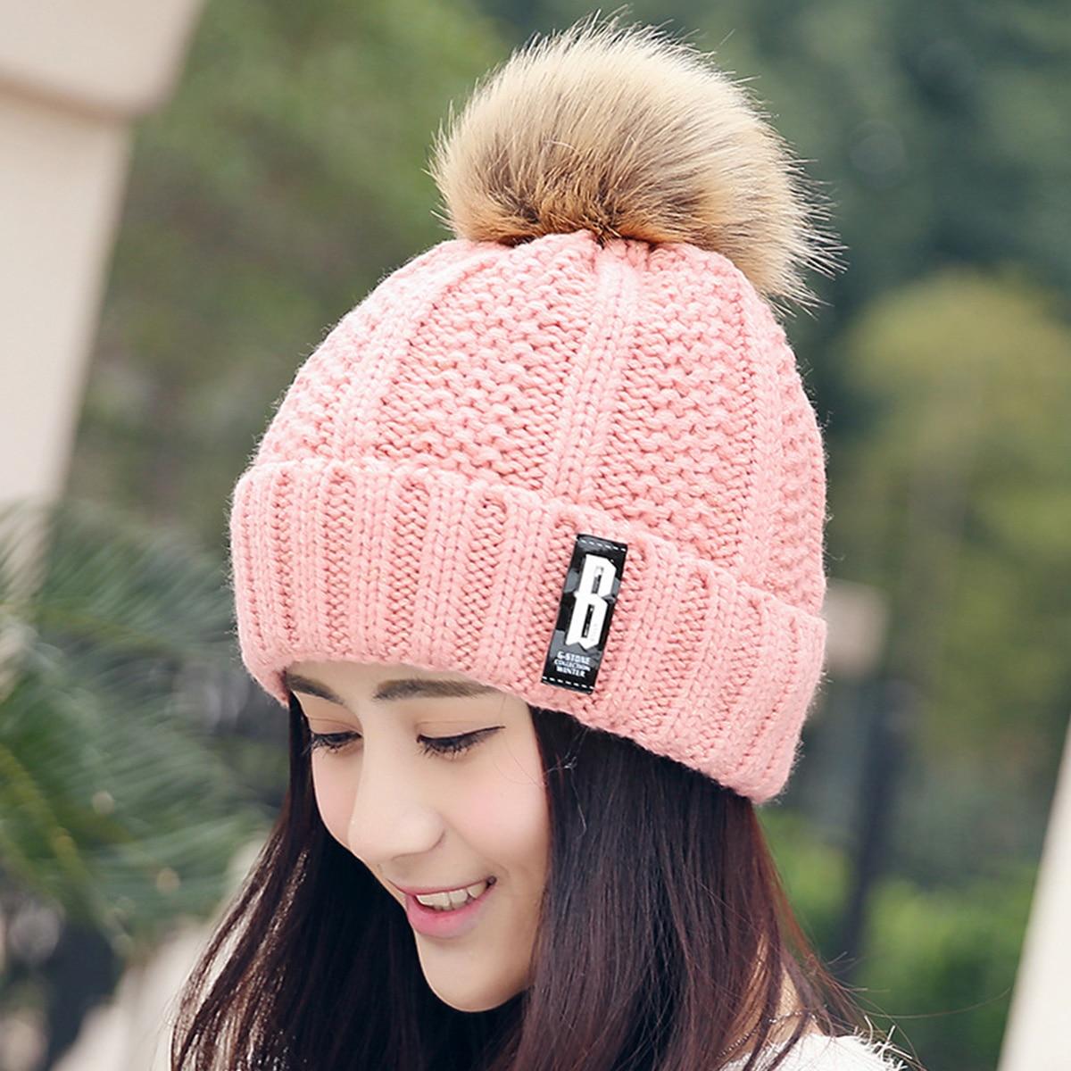 SIMPLESHOW 2018 High Quality Winter Hat Ladies Knit Hat Women s Beanies  Skullies Beanies Fashion Winter Pom 7ec498a03