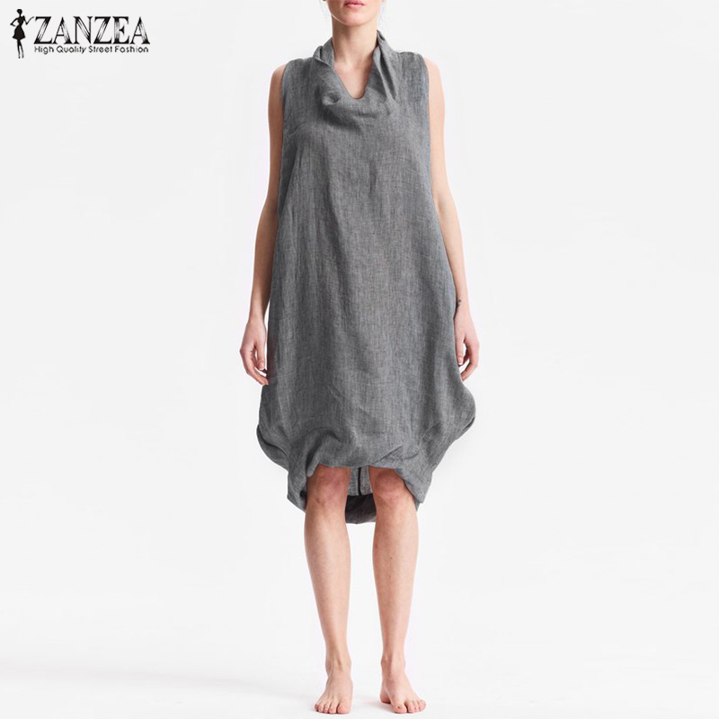 ZANZEA 2019 Women Vintage Knee-length Dress Elegant Sleeveless Solid Casual Party Tanks Dress Female Work Office Baggy Vestido