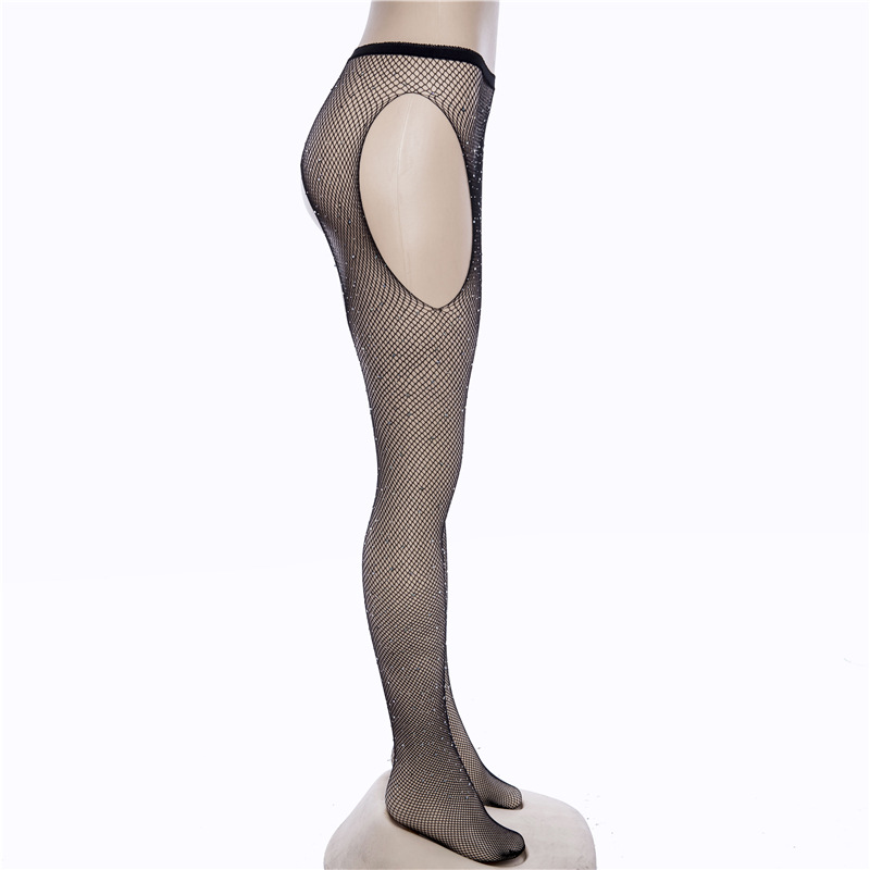 Buy Women Sexy Fantasy Fishnet 4 Way Open Crotch Mesh Pantyhose Shiny Rhinestone Nylons Crotchless Stockings Tights Lingerie