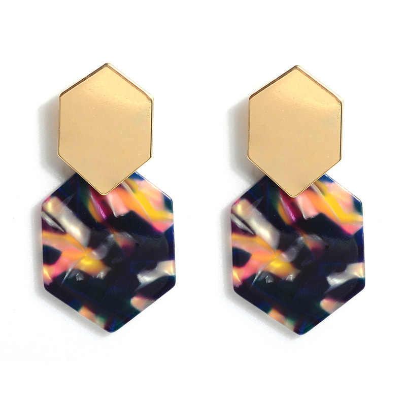 Cores Leopardo Geométrica 1 9 Par Acrílico Bonito Colorido Rhombus Brincos Do Punk Meninas Dos Namorados Presente Polígono Seaside