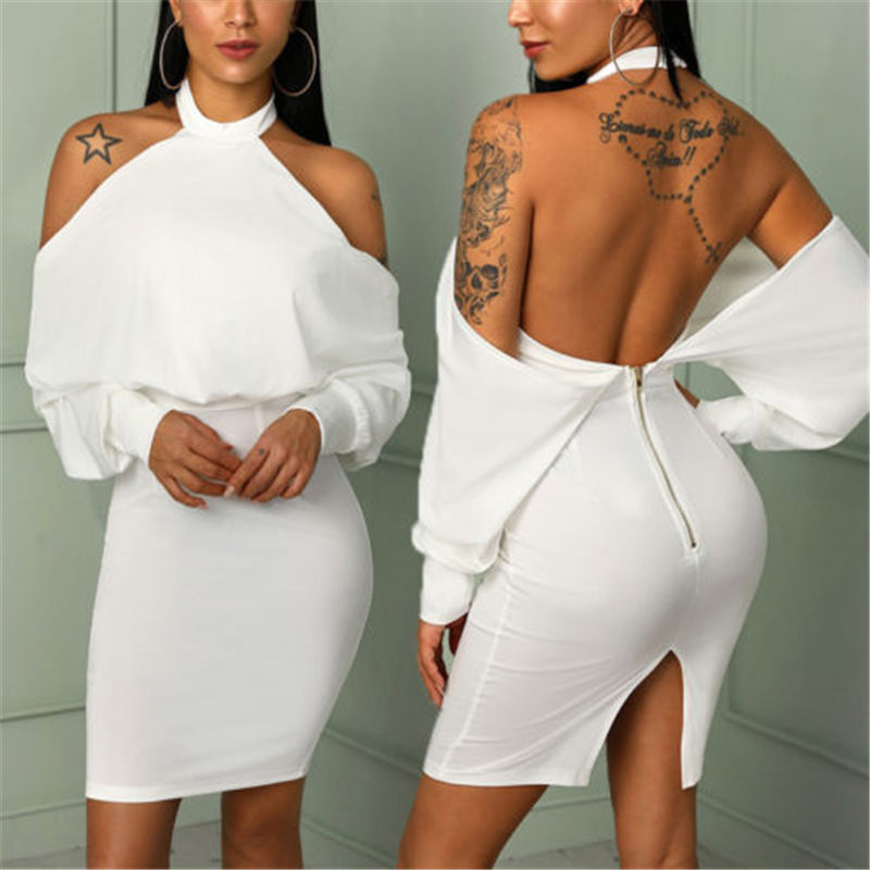 Meihuida New Arrival  Women Sexy Off Shoulder Bardot Backless Skirts Ladies Party Bodycon White Color Female Girl Skirt Gift