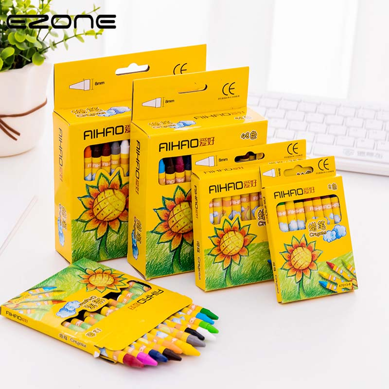 EZONE 8/12/24 Colors Kids Non-toxic Wax Crayon Children Painting Graffiti Color Pen Creative Kawaii Pens For Kids Painting