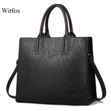 Witfox vintage style women handbags European big capacity classic simple ladies shoulder shopping bag