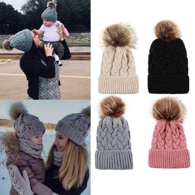 Mother Kids Winter Hat Knitted Warm Fur Pompom Caps Beanies Women Children  Pom Pom Ball Hats Baby Boys Girls Wool Cap Bonnet b194f5106e