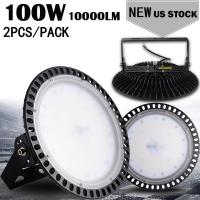 2PCS Ultraslim 100W UFO LED High Bay Lights 110V 220V Waterproof IP65 Commercial Lighting Industrial Warehouse Led High Bay Lamp