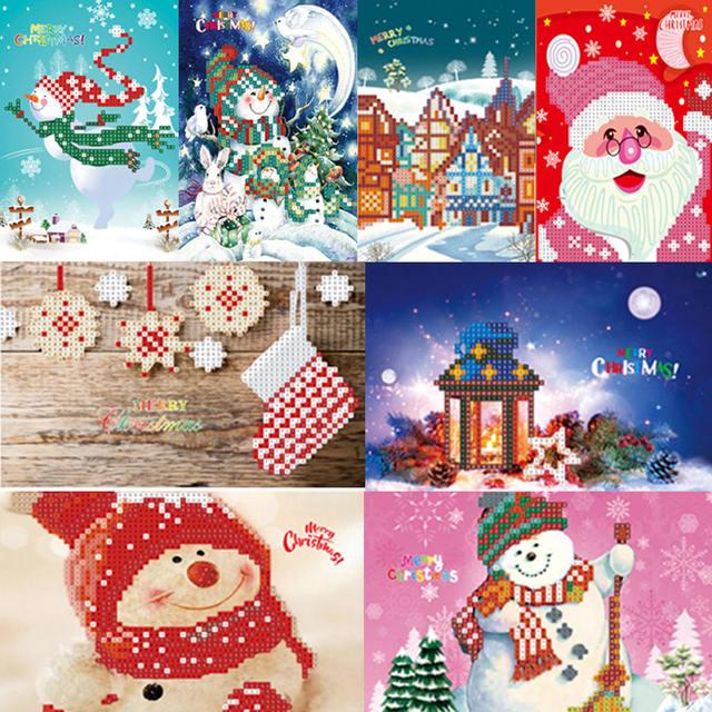 8pcs 5d Diy Diamond Painting Cartoon Paper Greeting Postcards Craft