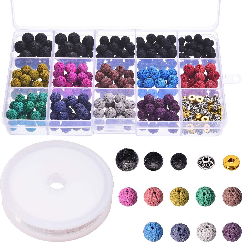 400 Stücke Assorted Farbige Lava Rock Stein Vulkanischen Perlen Spacer Perlen Mit Lagerung Box Und 1 Rolle Elastische Kristall String Für