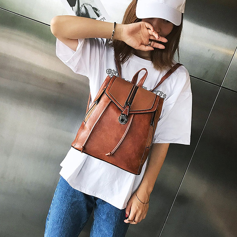 Retro Matte Leather Ladies Backpack Multi Function Bag Ladies Girls Backpack Retro Bag in Backpacks from Luggage Bags