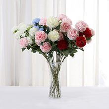 Artificial Flowers Rose 3 Heads Peony Bridal Bouquet Silk Flower For Wedding Valentine's Day Party Home Decor DIY Decoration