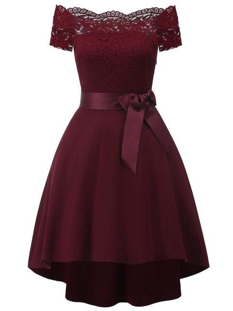 f06e0d2cf4b Wipalo Plus Size Off Shoulder Lace Panel High Low Belted Dress Women  Vintage Party Dress Female Ladies Retro Vestido Clothing