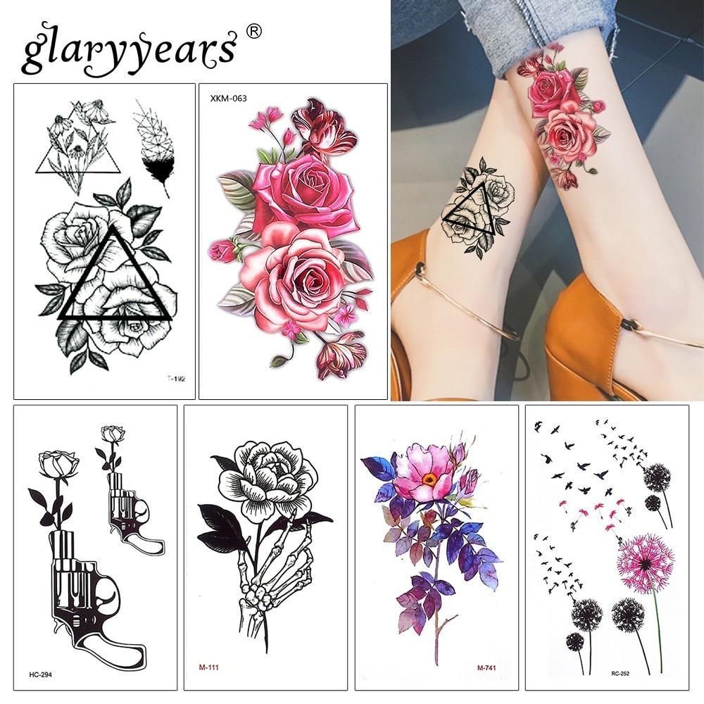 Glaryyears 15 Sheet Temporary Colorful Tattoo Sticker Fake Tatoo Plant Flash Tatto Waterproof Small Body Art Men Women Fashion